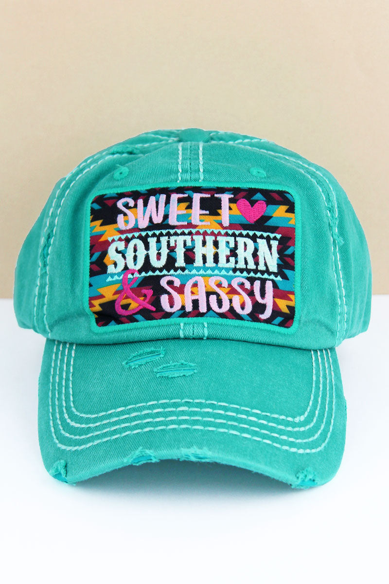 Distressed Turquoise 'Sweet Southern & Sassy' Cap