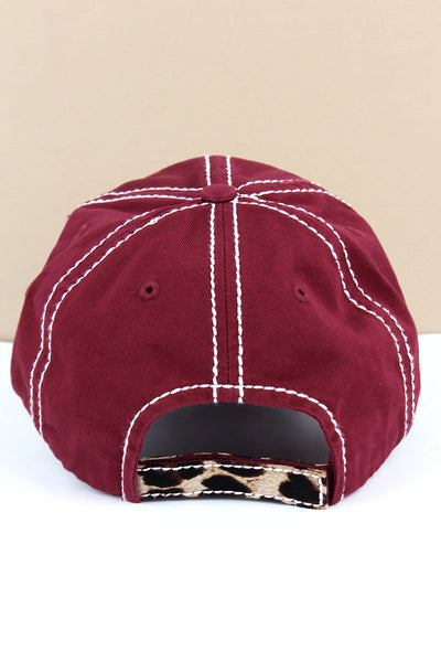 Distressed Burgundy 'Thankful & Blessed' Leopard Pumpkin Cap