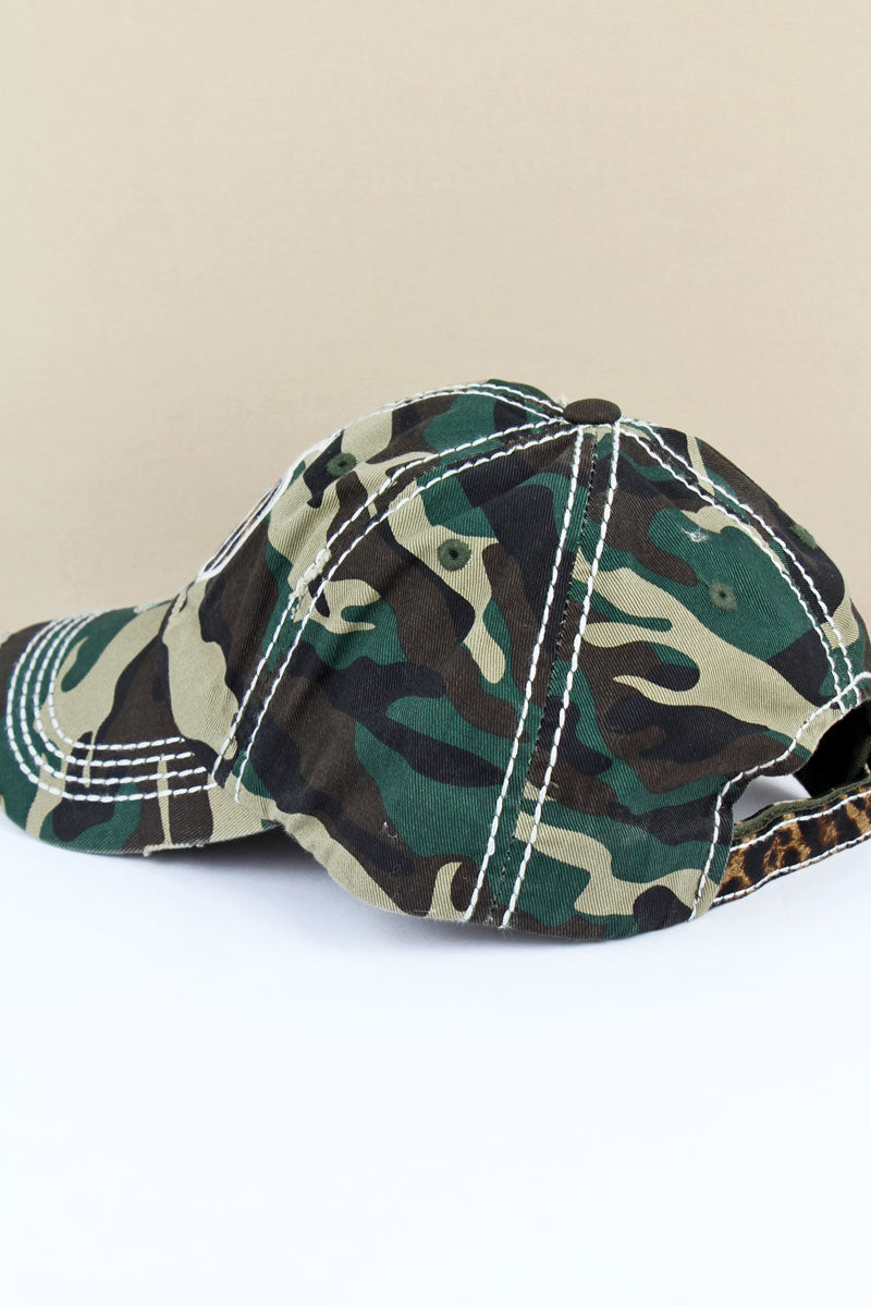 Distressed Camo 'Thankful & Blessed' Leopard Pumpkin Cap
