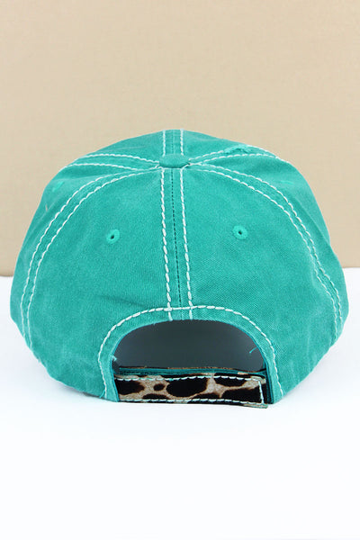 Distressed Turquoise 'Thankful & Blessed' Leopard Pumpkin Cap