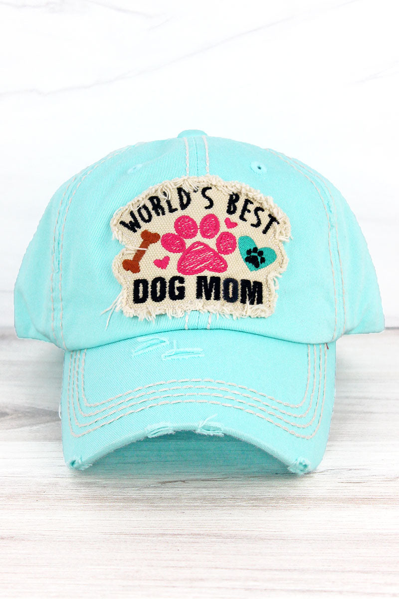 Distressed Mint Blue 'World's Best Dog Mom' Cap