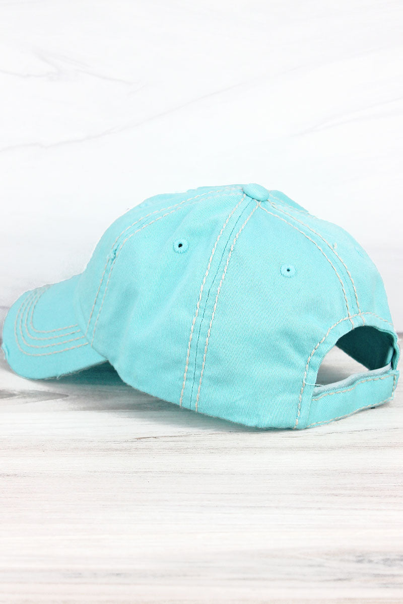 Distressed Mint Blue with Tie-Dye 'Good Vibes Only' Cap