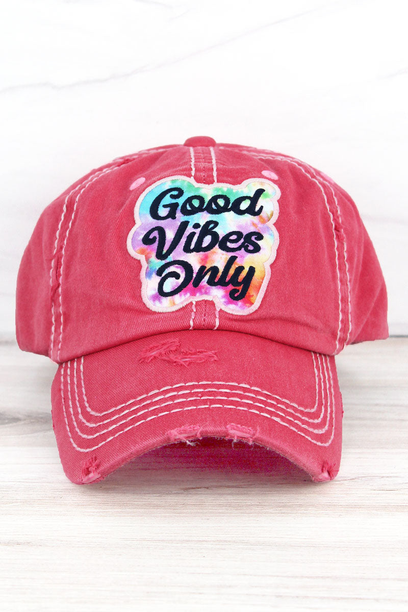 Distressed Salmon with Tie-Dye 'Good Vibes Only' Cap