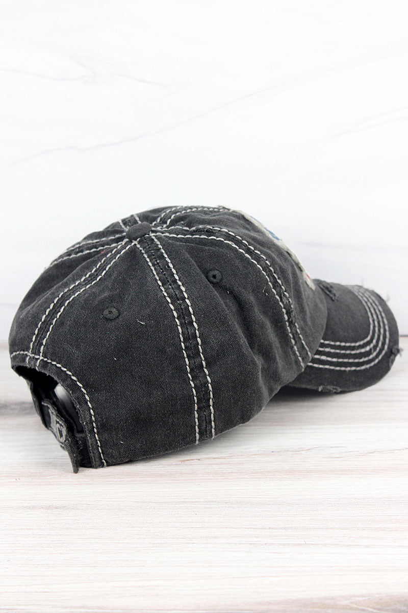 Distressed Black 'Happy Camper' Cap