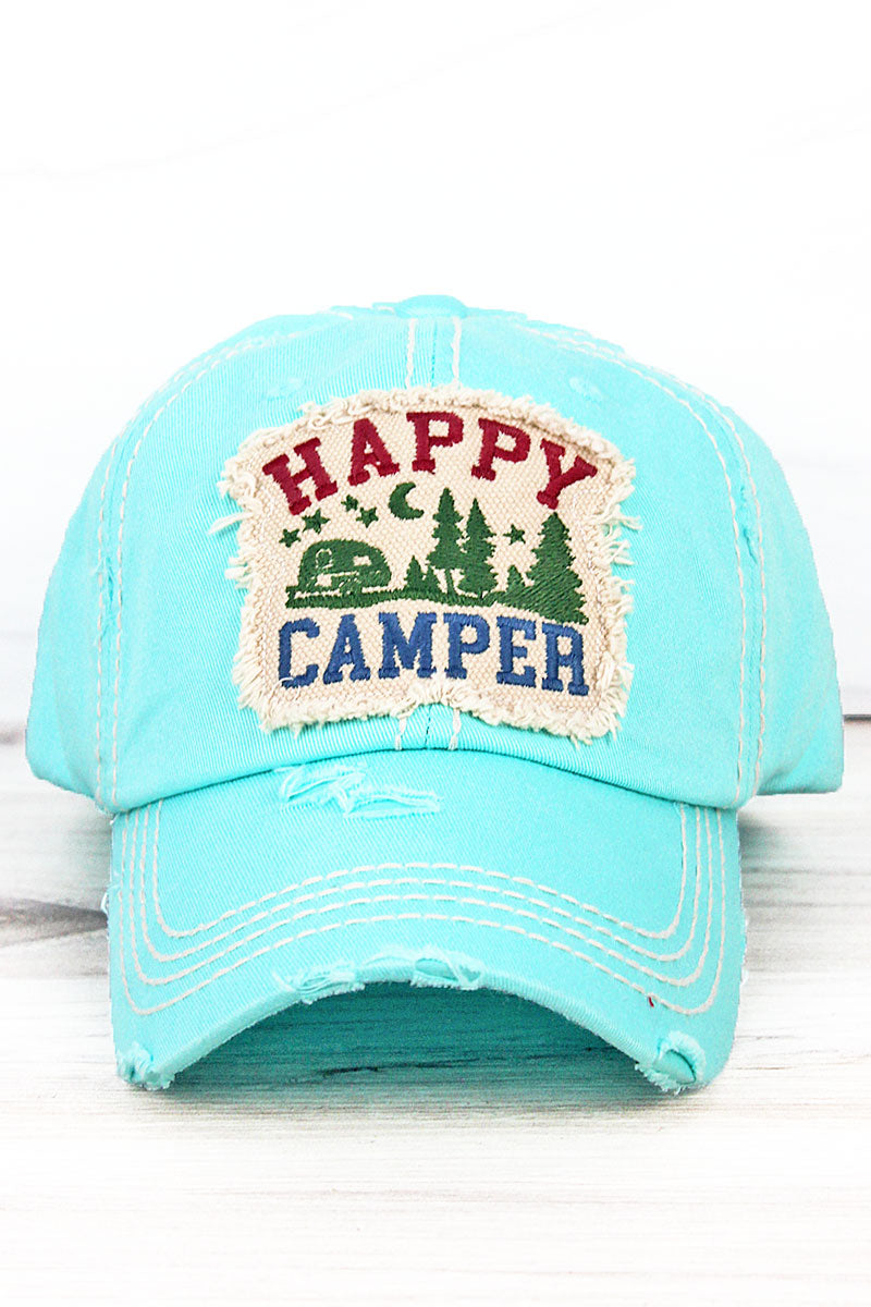 Distressed Mint Blue 'Happy Camper' Cap