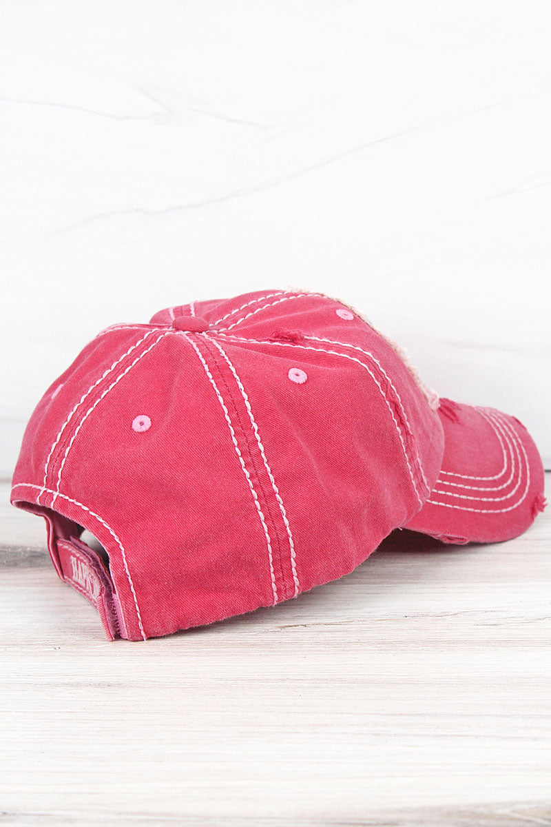 Distressed Salmon 'Happy Camper' Cap