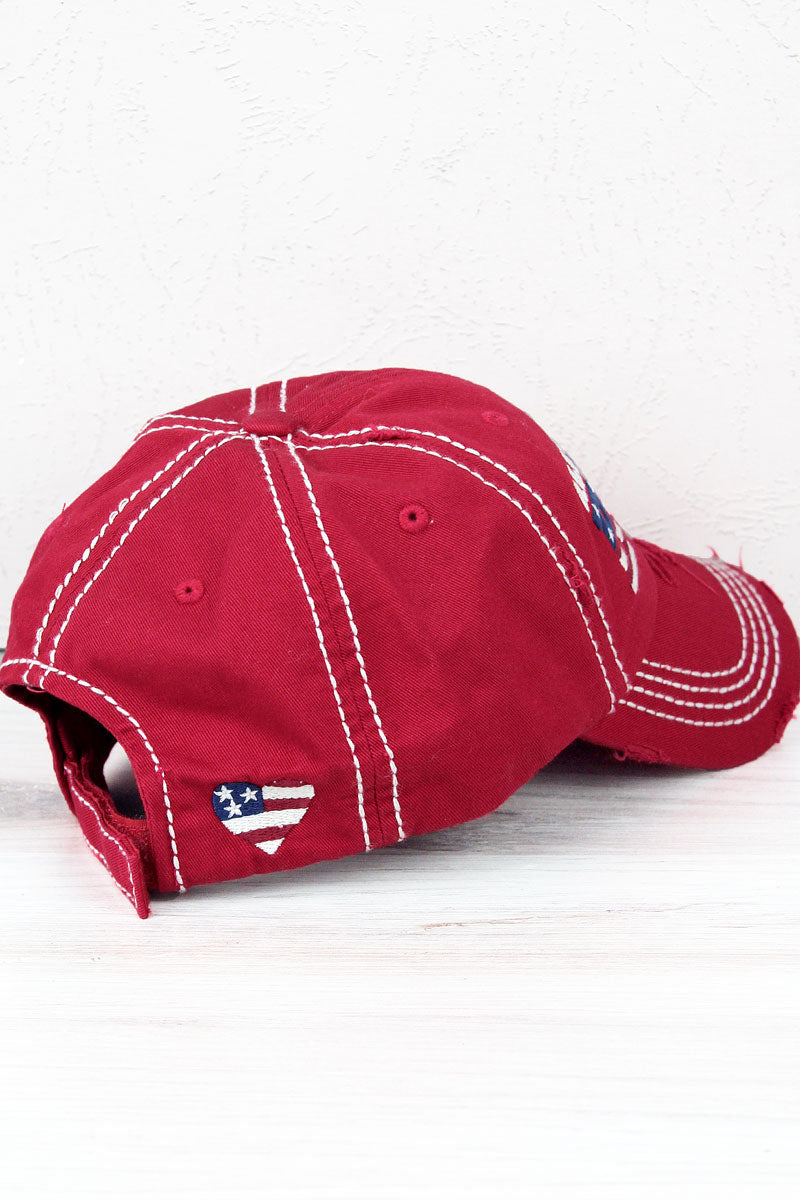 Distressed Red 'All-American Babe' Cap
