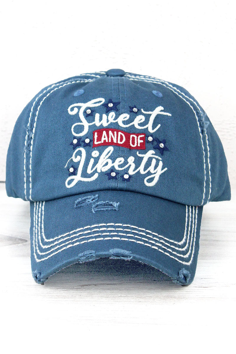 Distressed Blue 'Sweet Land Of Liberty' Cap