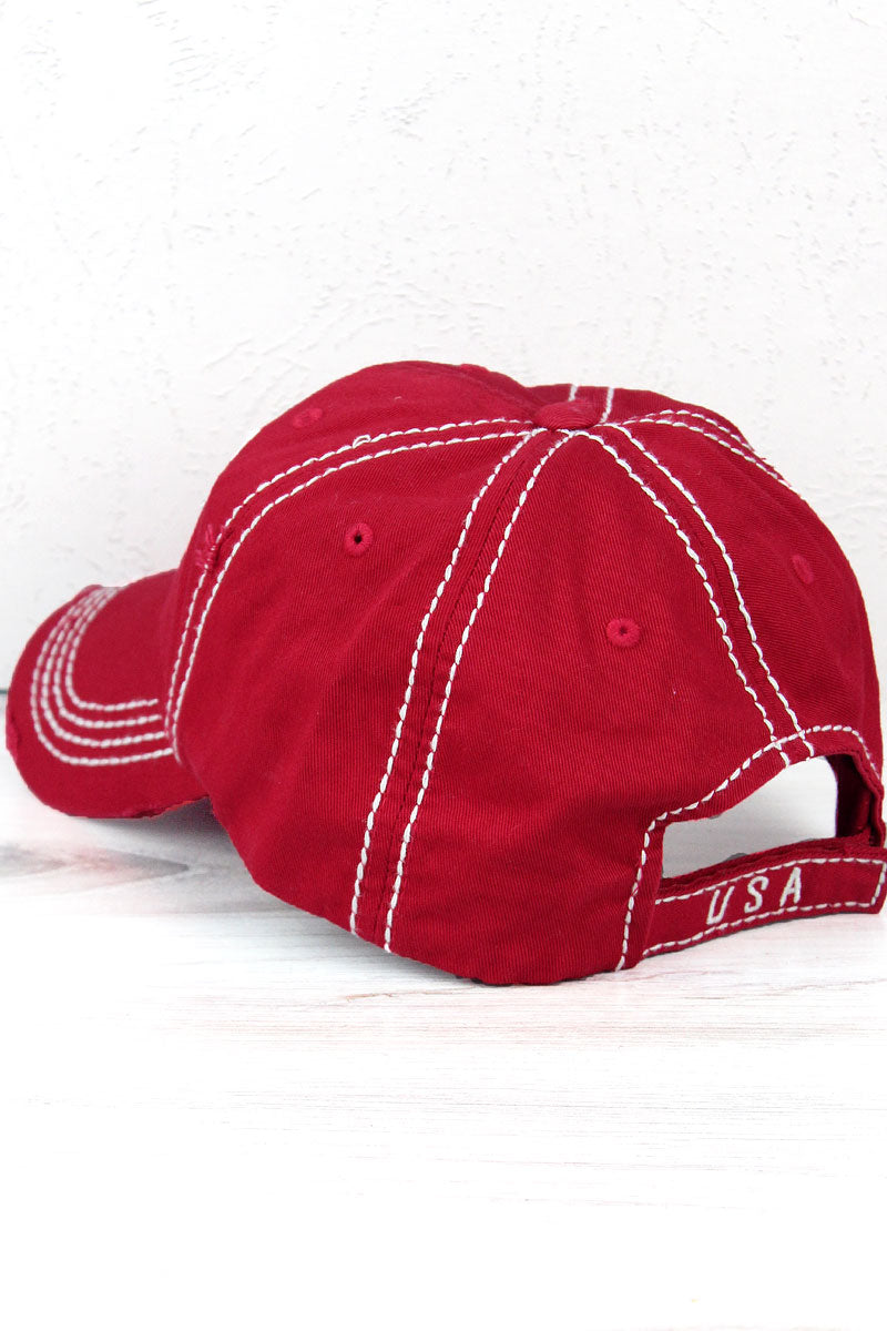 Distressed Red 'Sweet Land Of Liberty' Cap