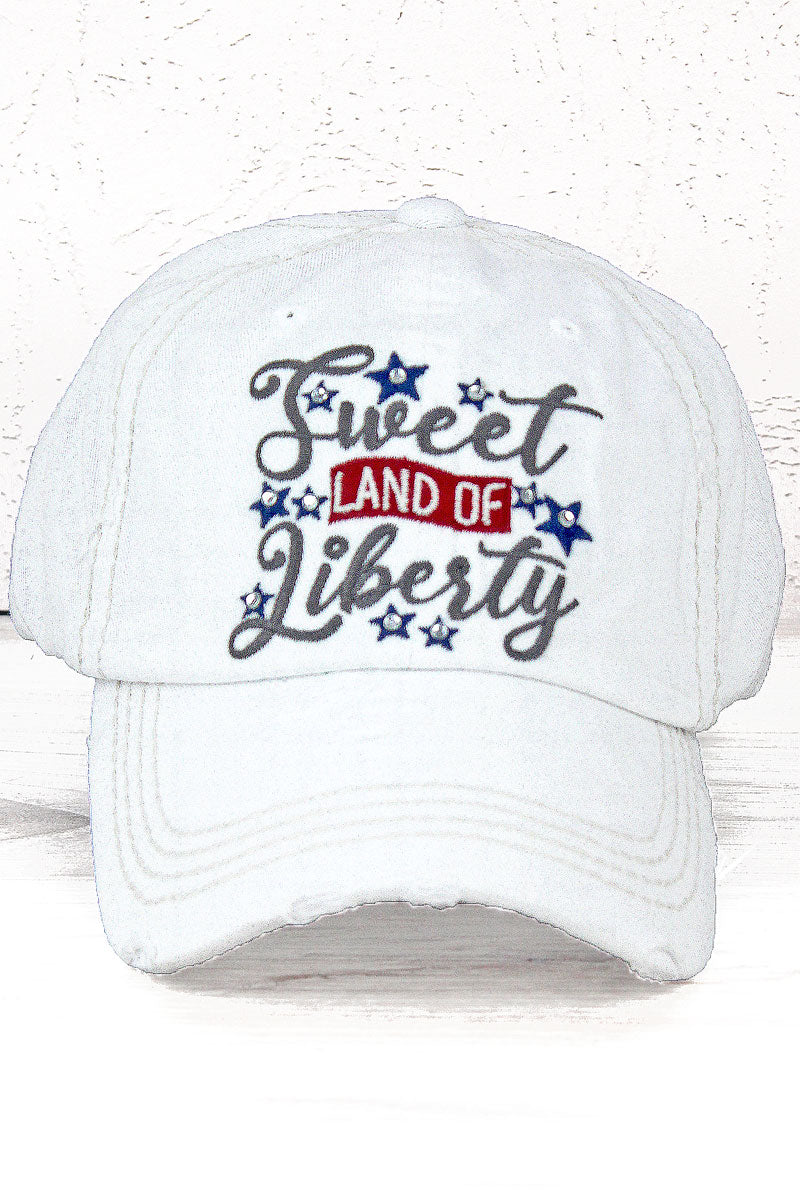 Distressed White 'Sweet Land Of Liberty' Cap