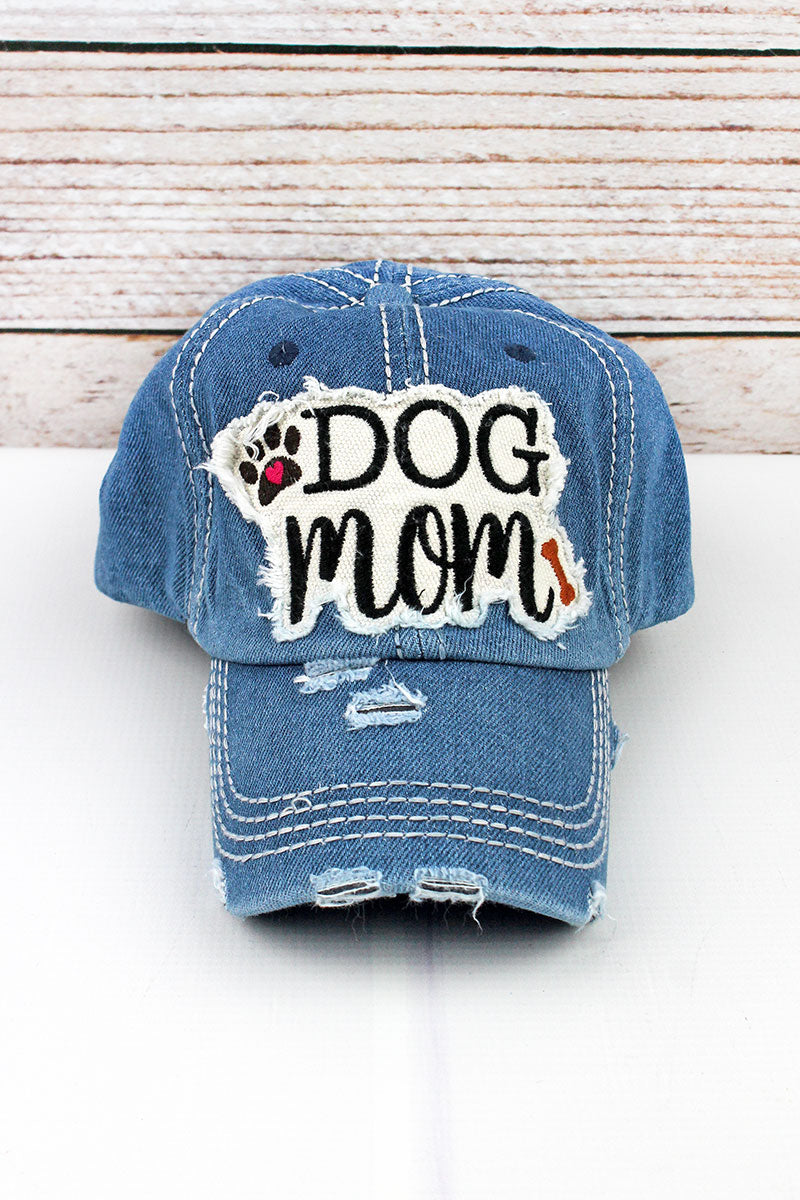 Distressed Medium Denim 'Dog Mom' Cap