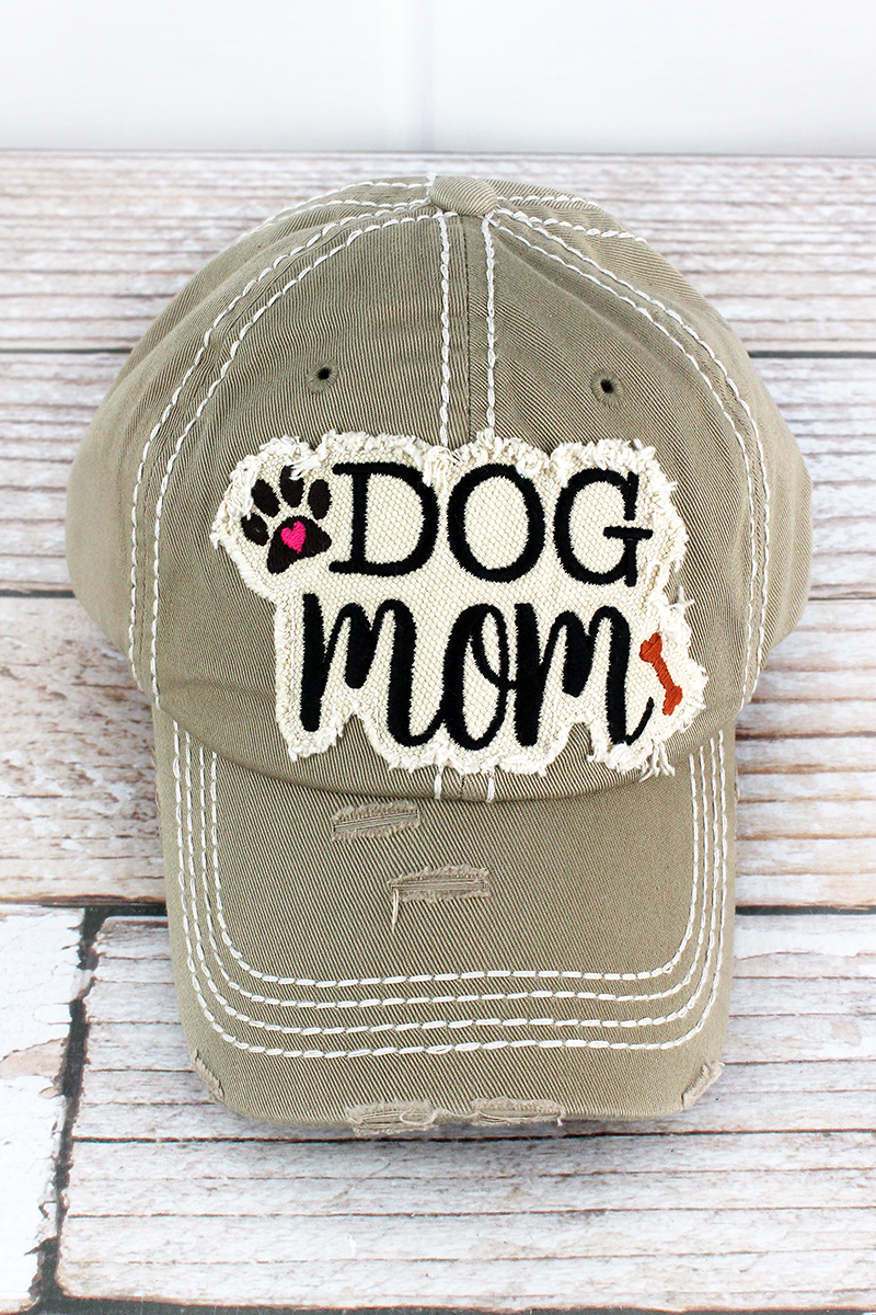 Distressed Khaki 'Dog Mom' Cap
