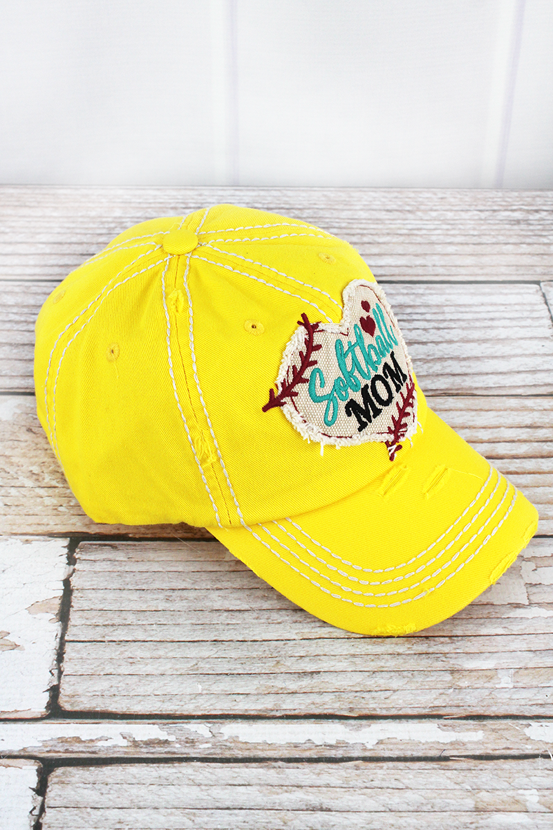 Distressed Yellow 'Softball Mom' Heart Cap