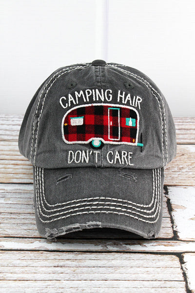 Distressed Black 'Camping Hair Don't Care' Cap