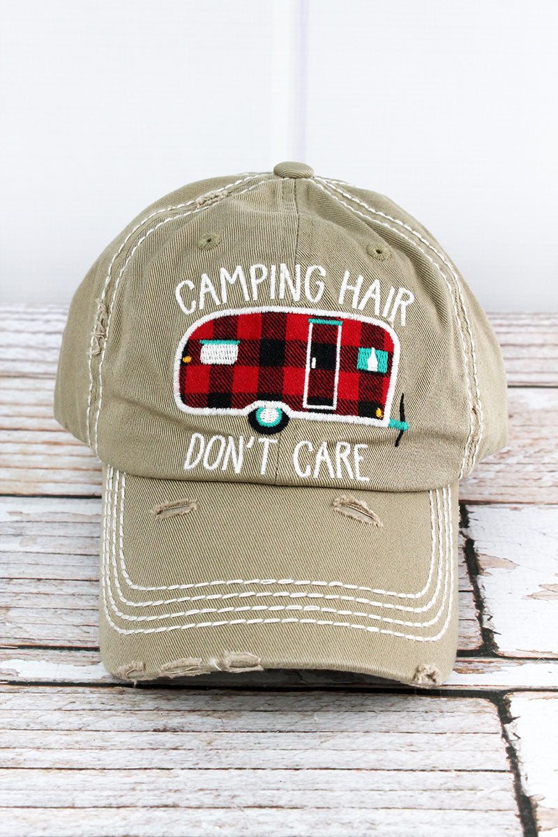 Distressed Khaki 'Camping Hair Don't Care' Cap