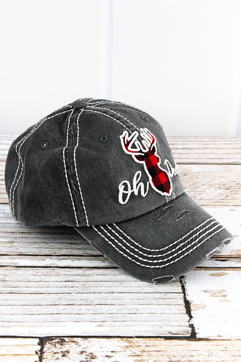 Distressed Black 'Oh Deer!' Cap