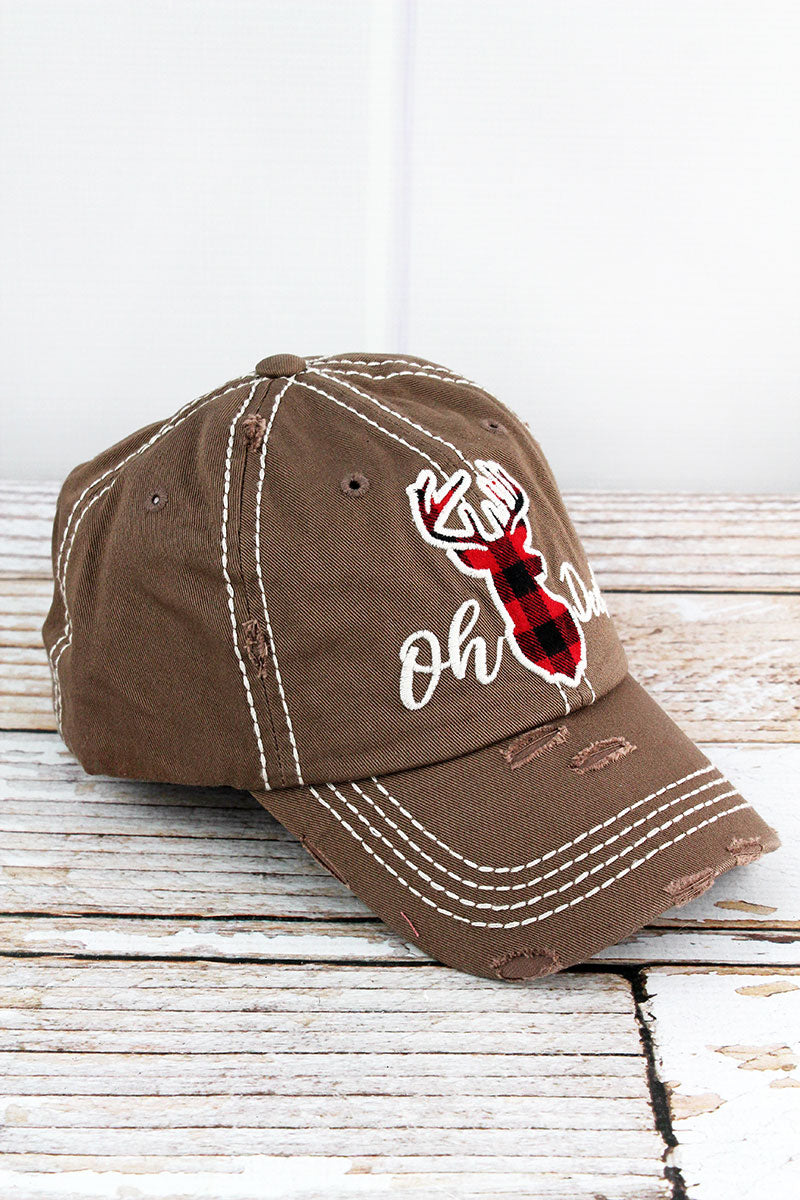 Distressed Mocha 'Oh Deer!' Cap
