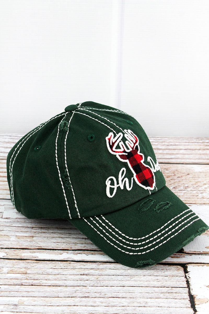 Distressed Pine Green 'Oh Deer!' Cap