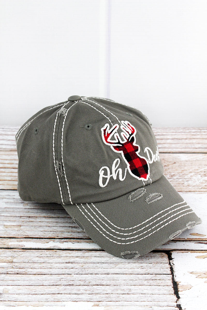 Distressed Steel Gray 'Oh Deer!' Cap