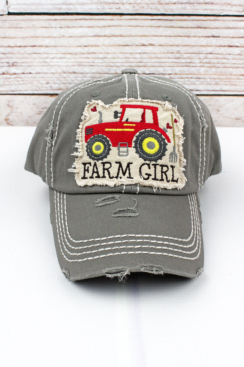 Distressed Steel Gray 'Farm Girl' Cap