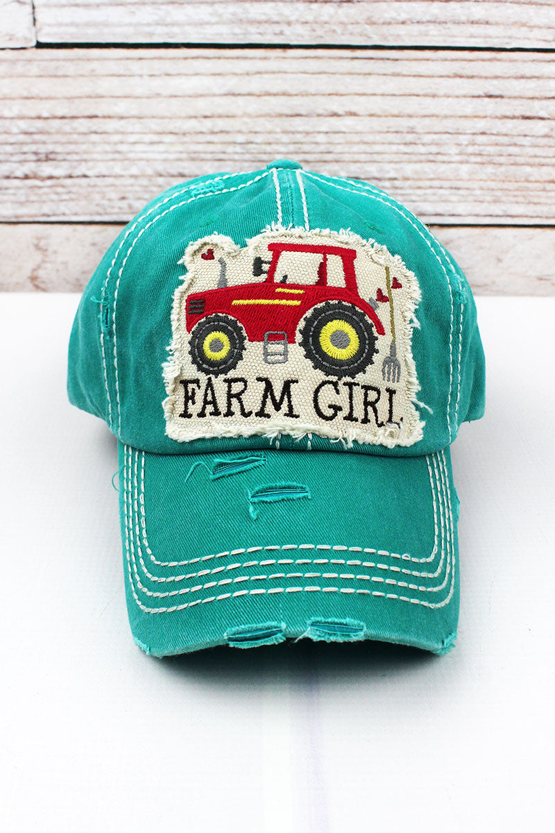 Distressed Turquoise 'Farm Girl' Cap