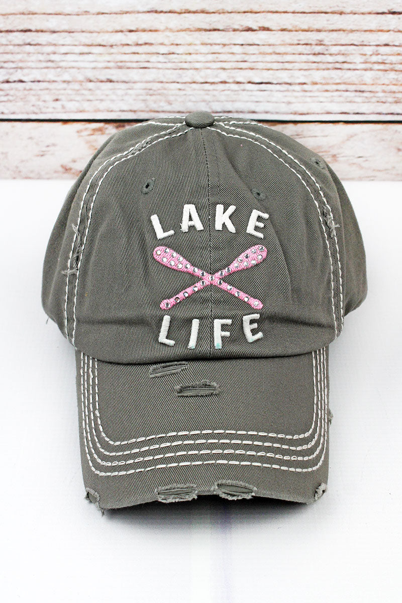 Distressed Steel Gray with Crystals 'Lake Life' Cap