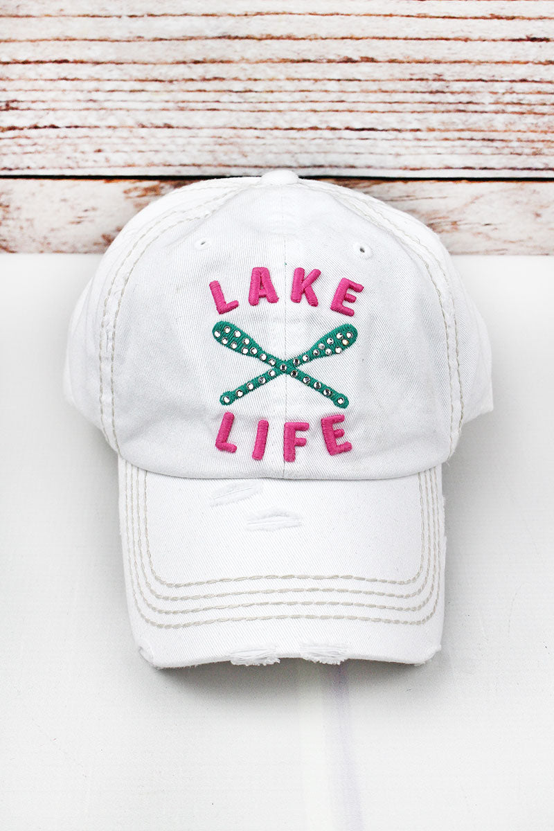 Distressed White with Crystals 'Lake Life' Cap