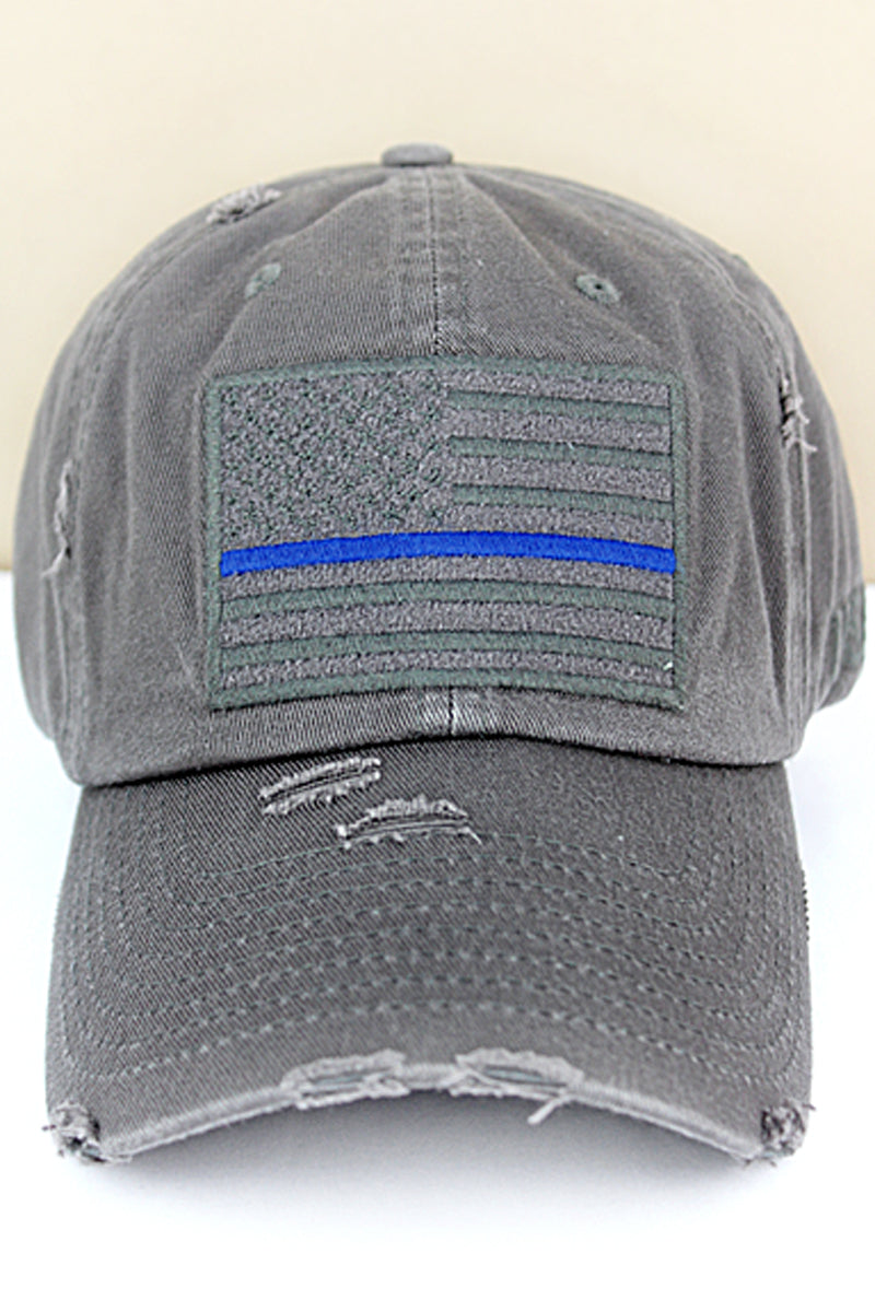 Distressed Dark Gray Subdued Flag with Blue Stripe Tactical Operator Cap