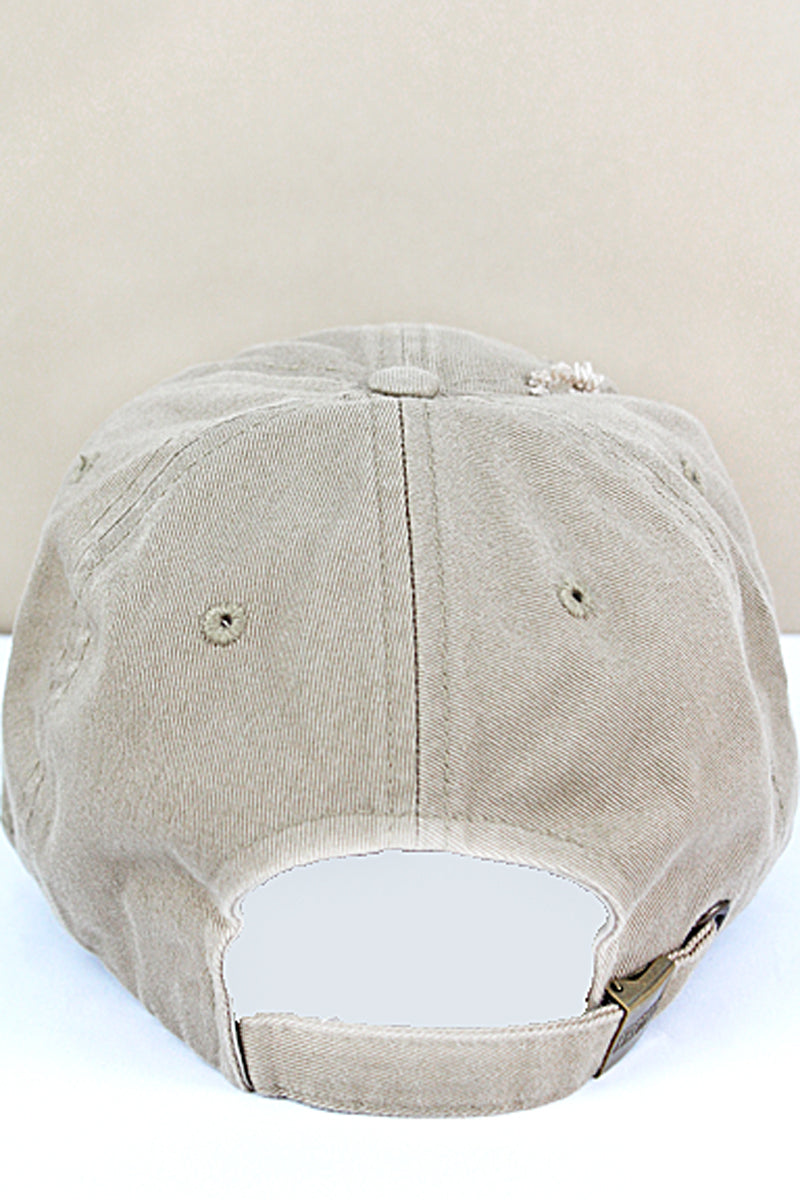 Distressed Khaki Subdued Flag Tactical Operator Cap