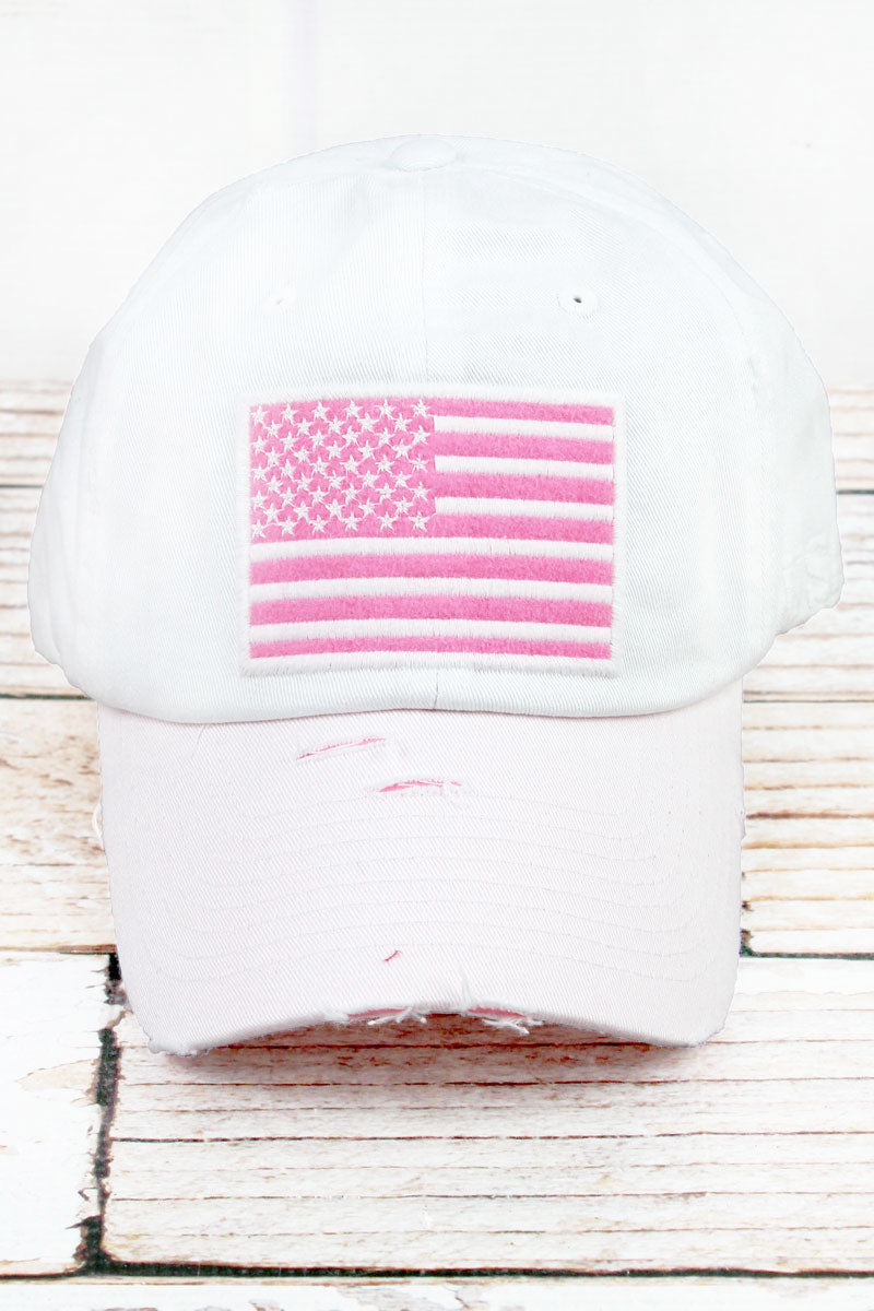 Distressed White with Pink American Flag Tactical Operator Cap