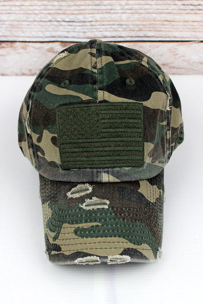 Distressed Camo Subdued Flag Tactical Operator Cap