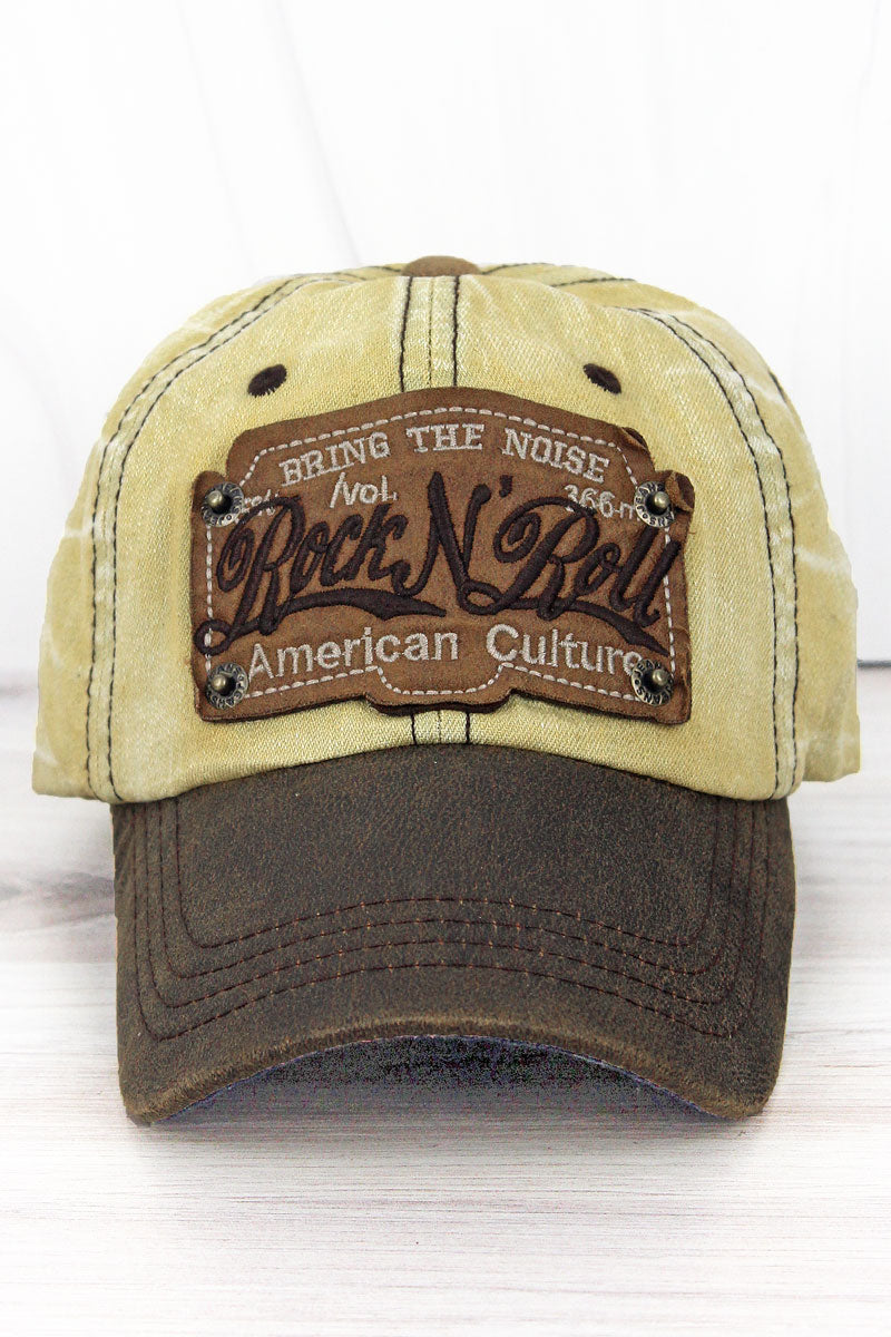 Distressed Khaki Wash Denim 'Rock N' Roll' Cap
