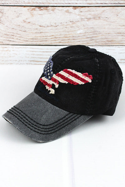 Distressed Black 'Americana' Eagle Flag Cap
