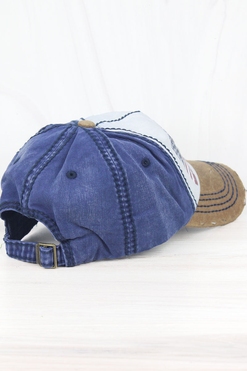 Distressed White and Navy American Flag Cap