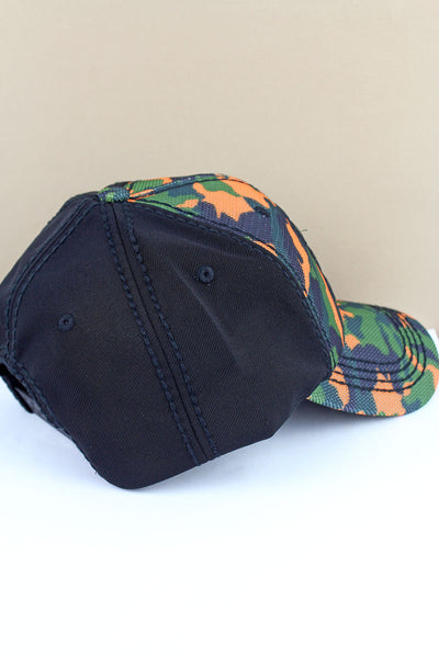 Orange Camo and Black 'Go Hard Or Go Home' Mesh Front Cap
