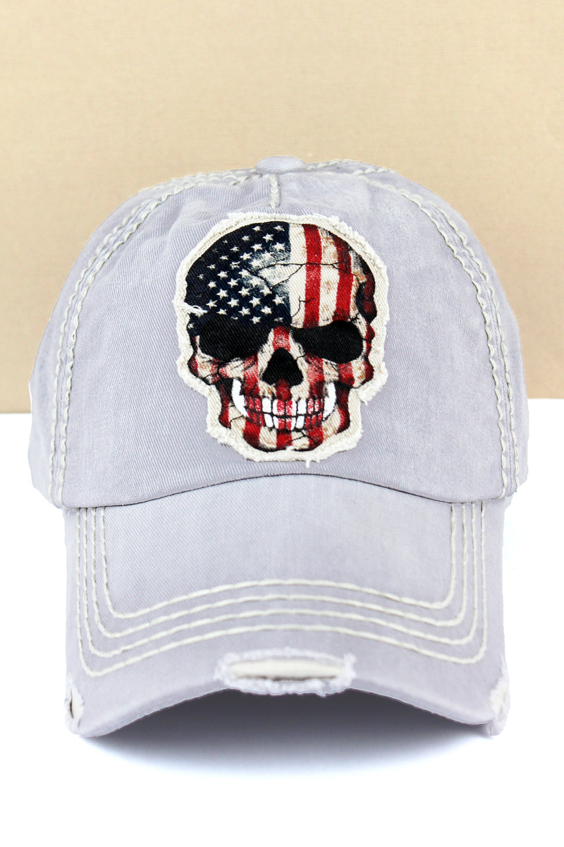 Distressed Light Gray American Flag Skull Cap
