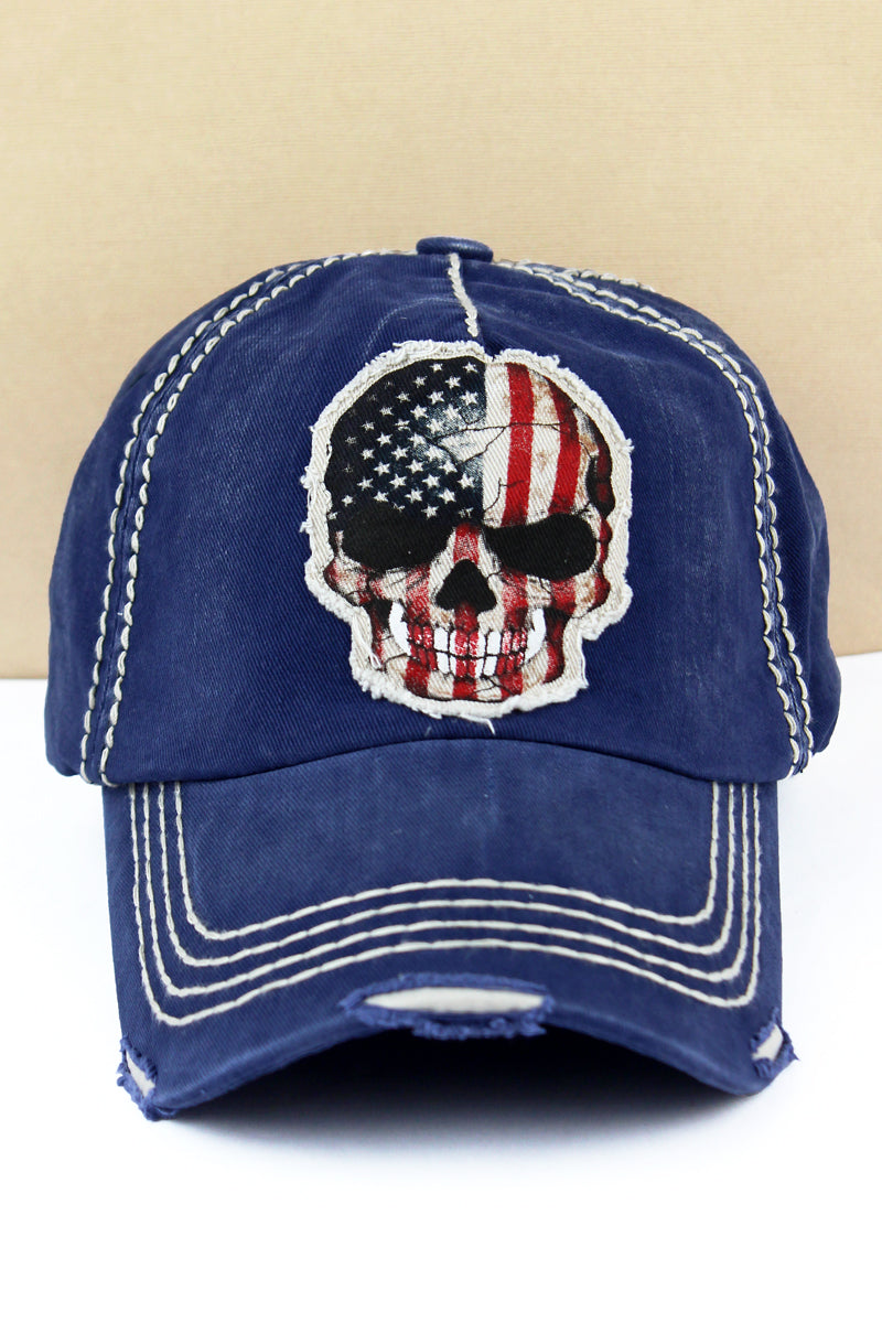 Distressed Navy American Flag Skull Cap