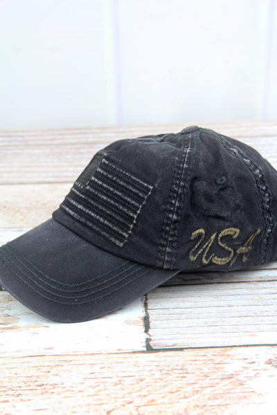 Distressed Black Subdued Flag Cap