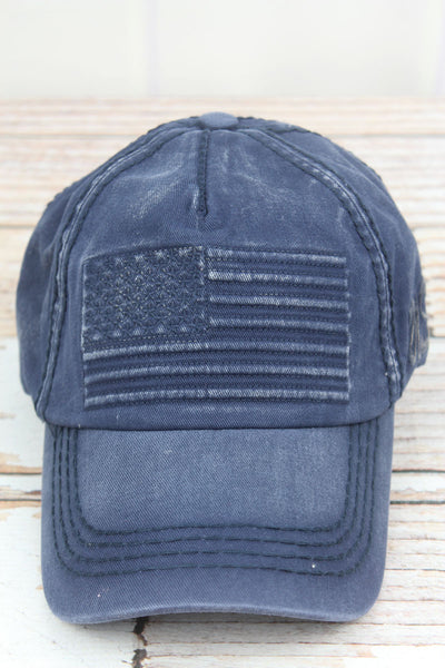 Distressed Navy Subdued Flag Cap