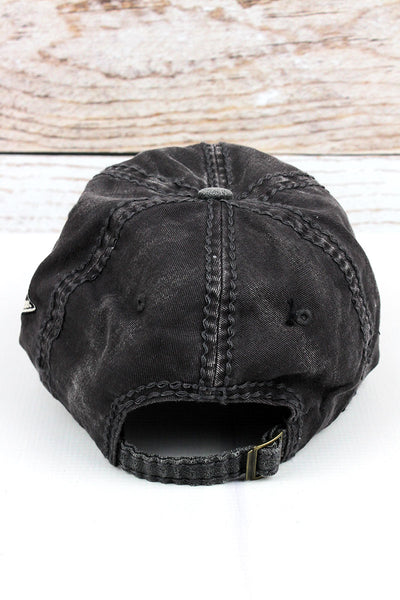 Distressed Dark Gray 'Ride' Cap