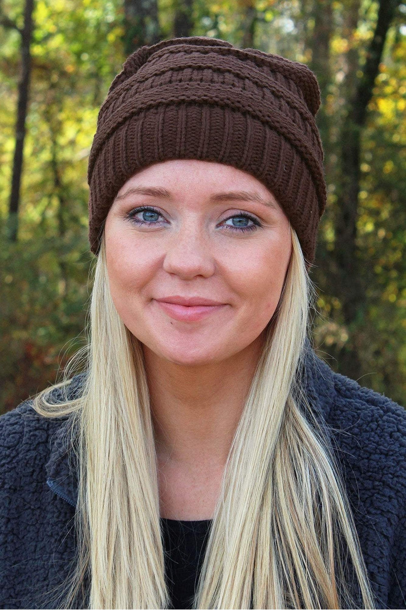 Winter Ready Slouch Beanie, Brown