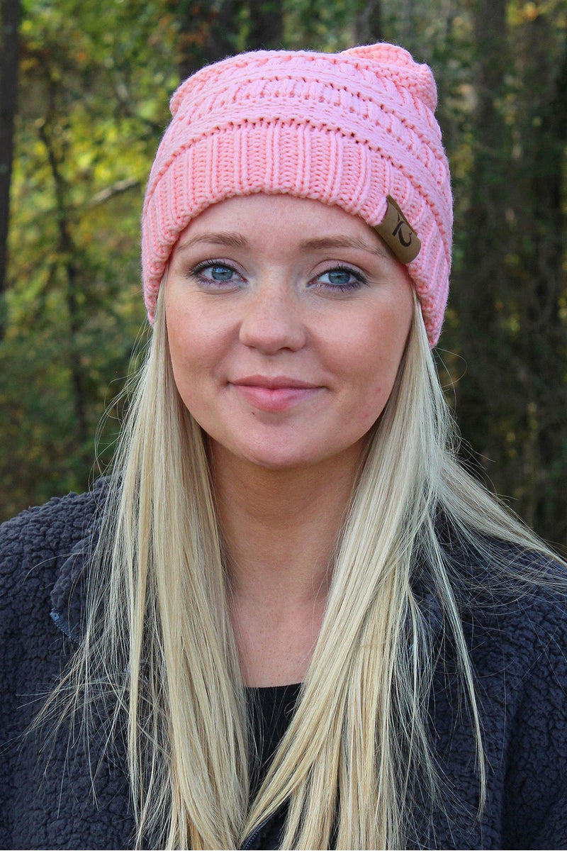 Campfire Cozy Beanie, Light Pink