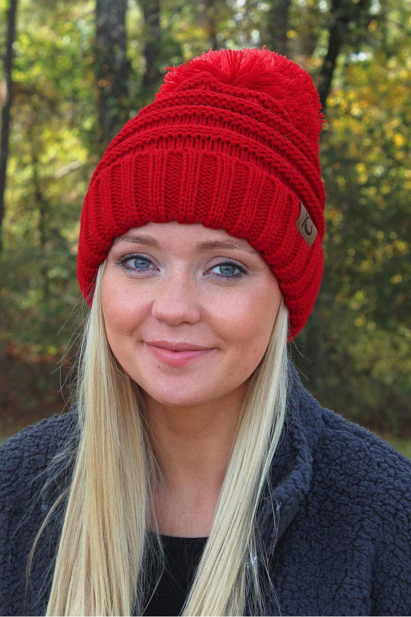 Snowball Fight Pom Pom Beanie, Red