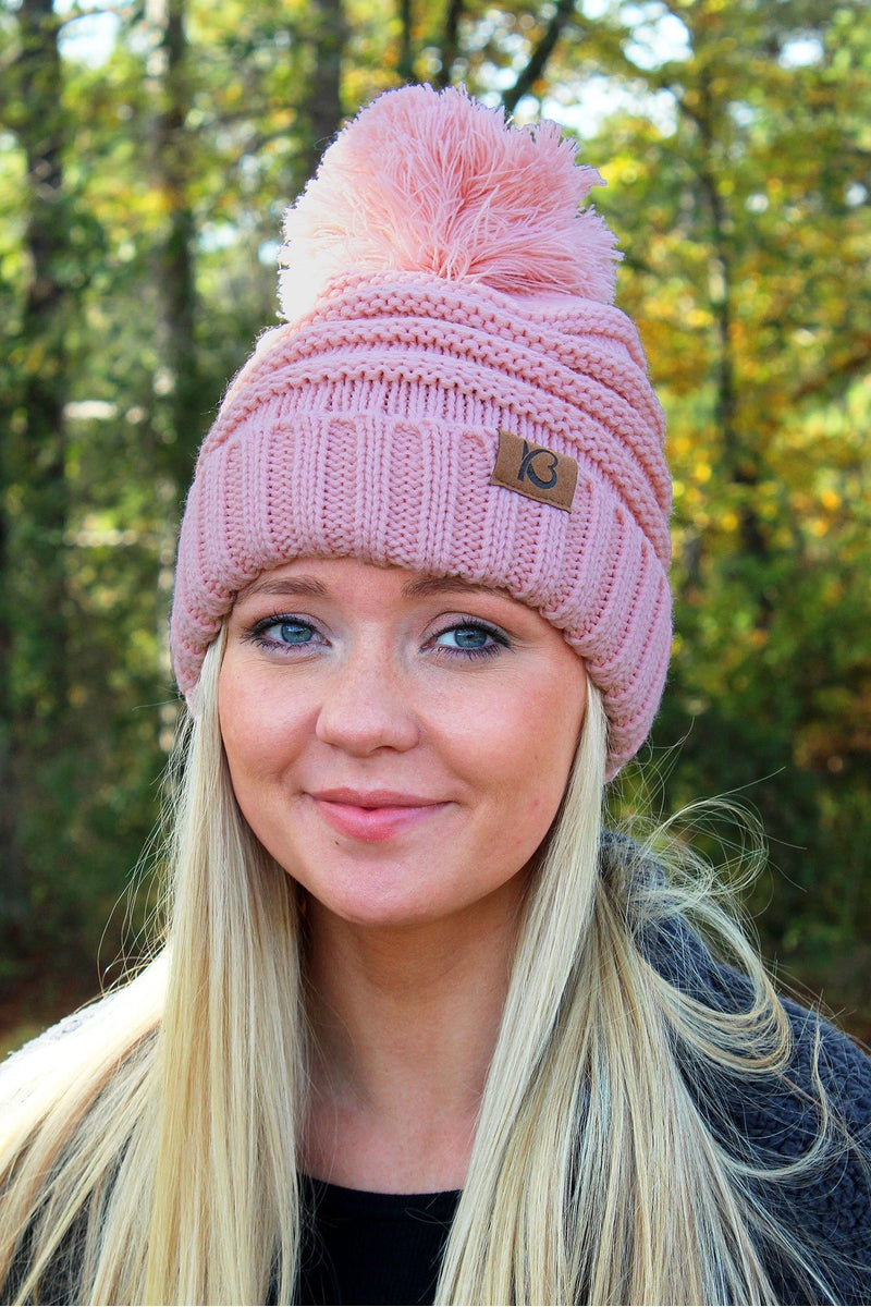 Snowball Fight Pom Pom Beanie, Rose