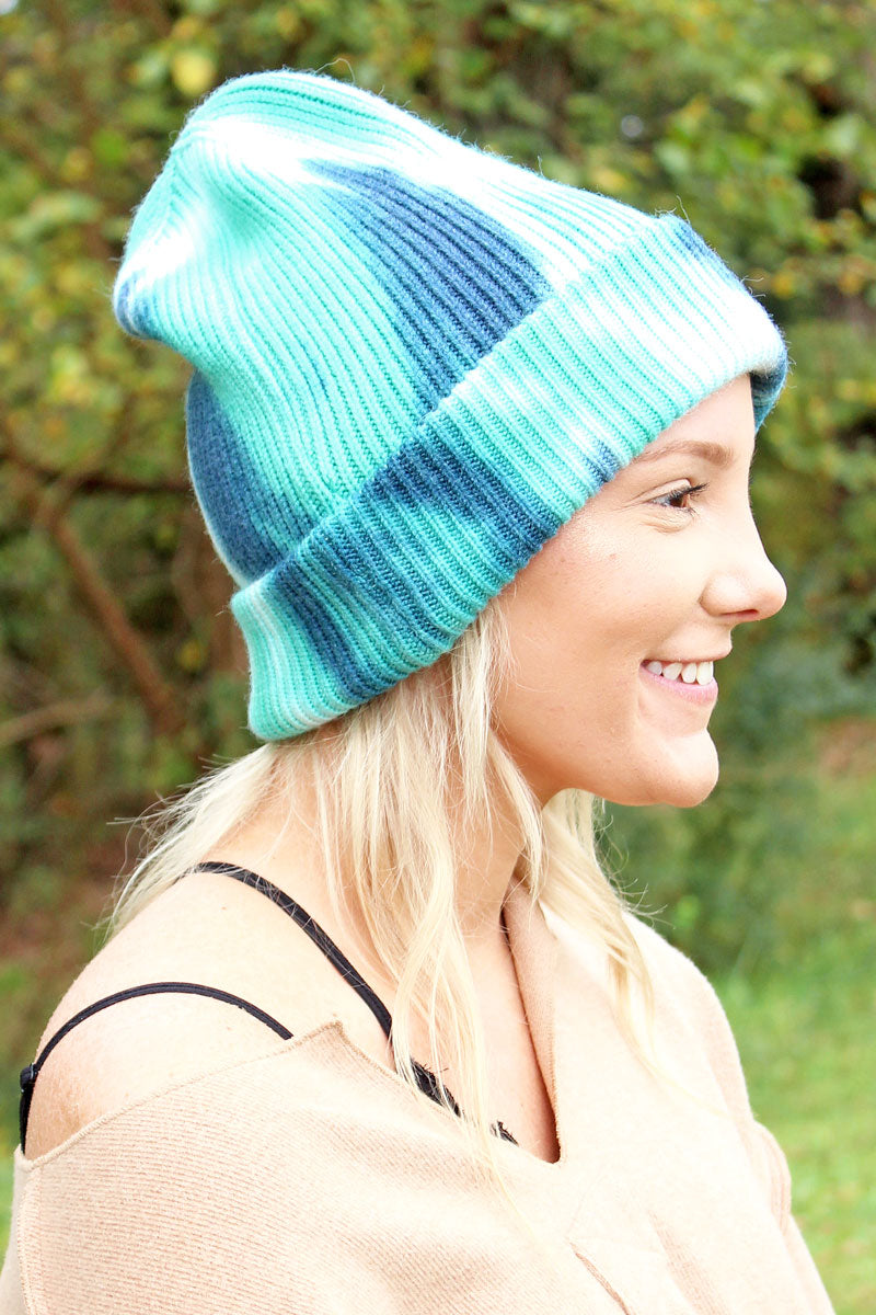 Crater Lake Turquoise and Navy Tie-Dye Beanie