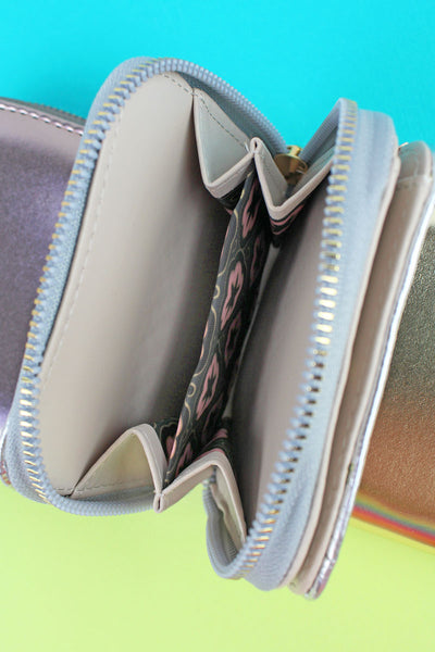 One Faux Leather Zip Around Wallet - SHIPS ASSORTED