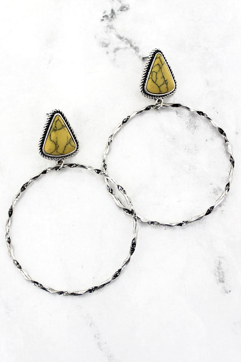 Yellow Twisting Creek Earrings