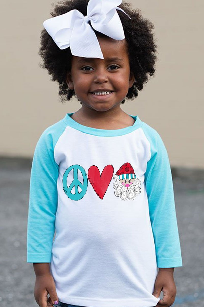 Peace Love Santa Kid's 3/4 Sleeve Raglan Tee