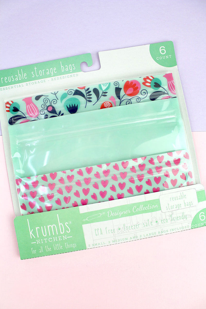 Pack of 6 Mint Floral Hearts Reusable Storage Bags