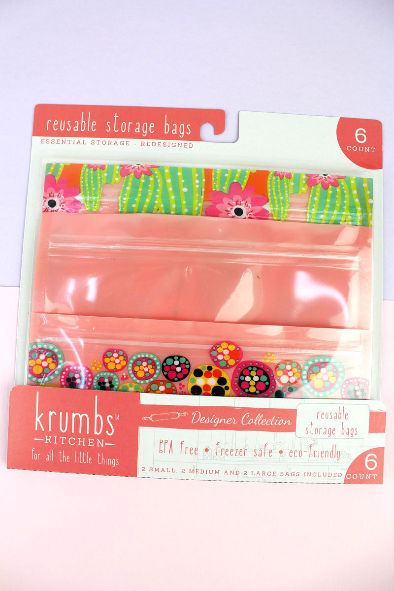 Pack of 6 Peach Cactus Dots Reusable Storage Bags